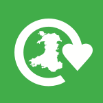 Map of Wales surrounded by recycling symbol