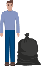 A person standing next to a bin bag