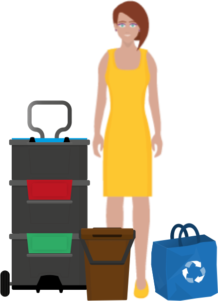 A person standing next to recycling containers